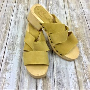 Vintage Candies | Yellow Retro Wooden Leather Clog